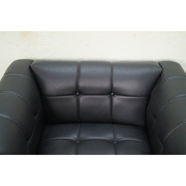 Leatherette Mid Century Modern Black Faux Leather Tufted Club Chair For Sale - Image 7 of 10