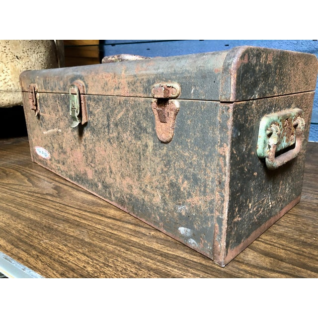 Industrial Vintage Car-Racing Crew Rusted Metal Patina Tool Box For Sale - Image 3 of 11