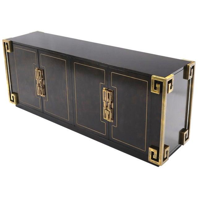 Mastercraft Burl Wood and Brass Greek Key Ornament Long Sideboard Credenza For Sale