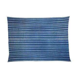 "Indigo Blue Striped Throw - 3'7"" X 4'11"" For Sale"