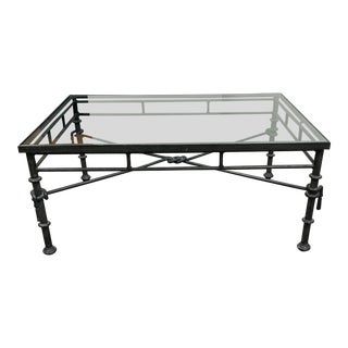Mason Jensons Style Iron + Glass Coffee Table For Sale