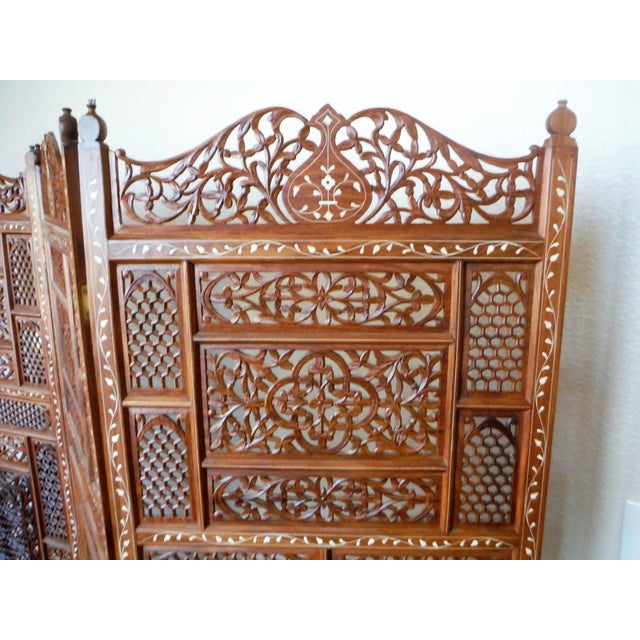 Carved & Inlayed Rosewood Screen For Sale - Image 5 of 11