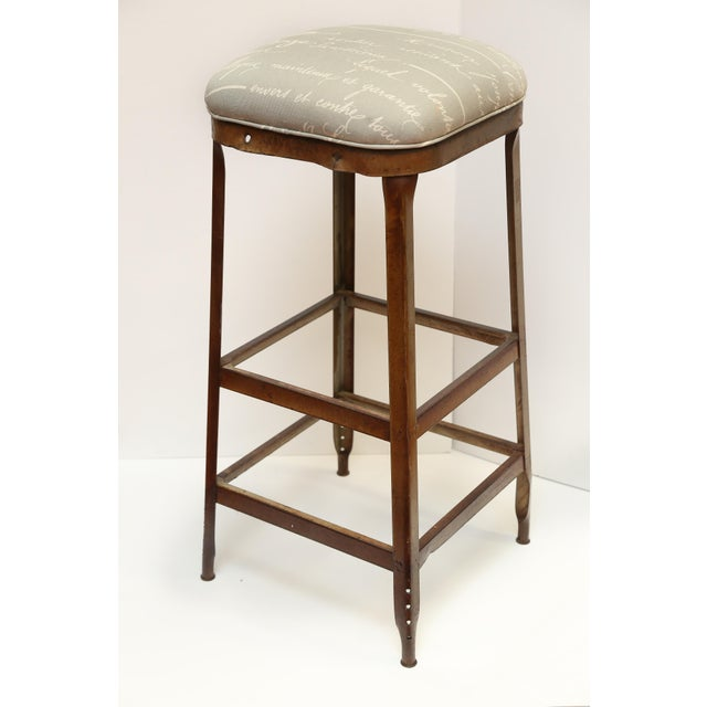 French Upholstered Industrial Stool - Image 2 of 5