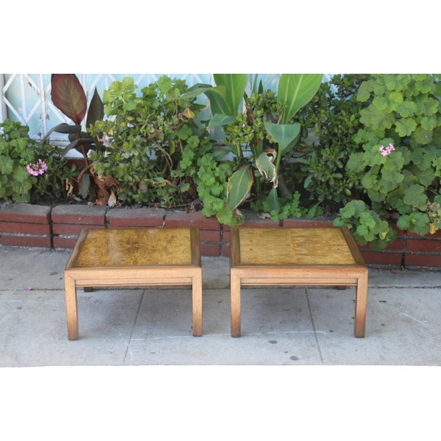 Yellow 1960s Mid-Century Modern Henredon Burlwood Low Side Tables - a Pair For Sale - Image 8 of 8