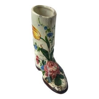 Vintage Porcelain Floral Boot Vase