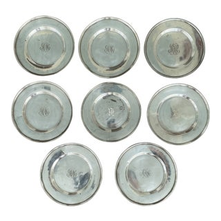 Vintage 1930s Sterling Silver Bread and Butter Plates - Set of 8 For Sale