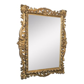 Vintage Gold Painted Ornate Mirror For Sale