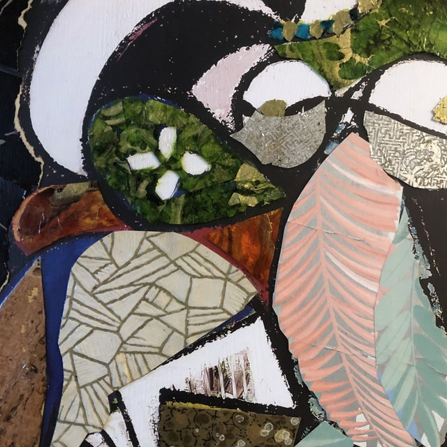 2020s Original Contemporary Large Abstract Modernist Collage Picasso Style Female Reading Framed For Sale - Image 5 of 11