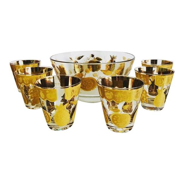 Culver Florentine Fruit Punch Bowl & Glasses - 7 Piece Set For Sale