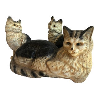 Vintage Cast Iron Kitty Cat Door Stops - Set of 3 For Sale