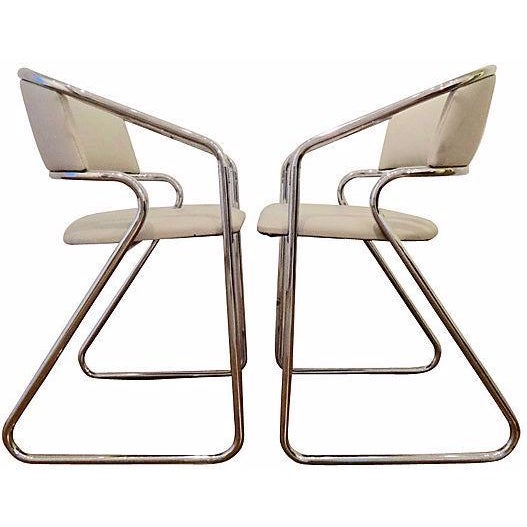 Italian Chrome Modernist Chairs - A Pair - Image 1 of 6