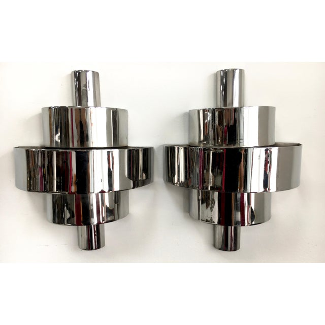 Deco Chrome Sconces - a Pair For Sale - Image 4 of 4
