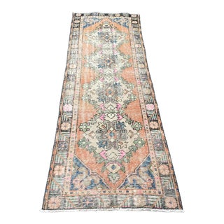 1960s Vintage Turkish Oushak Runner Rug - 2′7″ × 9′4″ For Sale