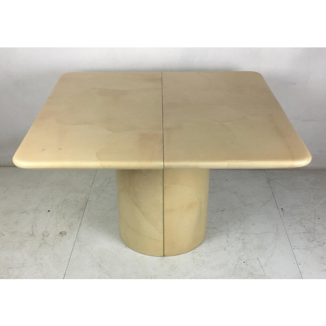 Gorgeous custom natural freeform goatskin clad dining table by Ron Seff. Seff designed and produced many of Karl...