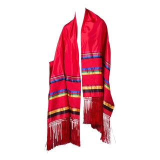Vintage Yves Saint Laurent Red Silk Stripe Fringe Shawl Scarf Evening Wrap For Sale