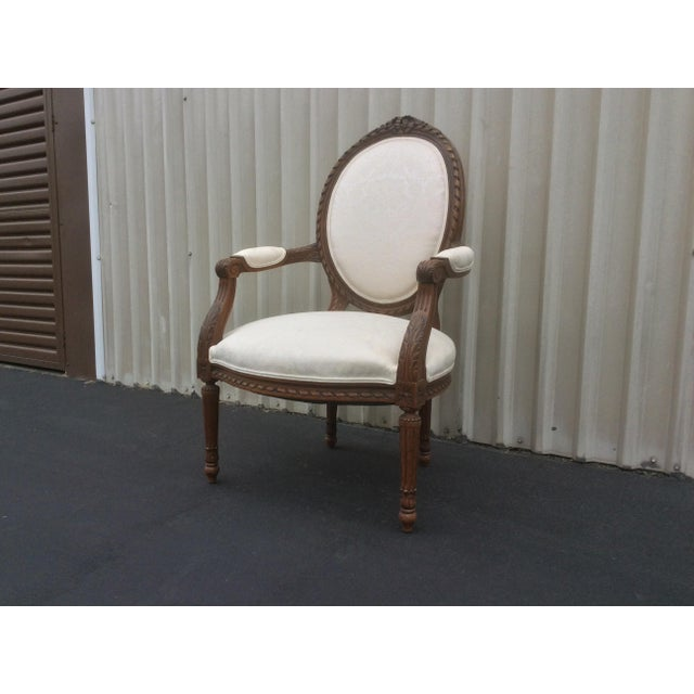 Fabric French Style Chair With Oval Back For Sale - Image 7 of 7