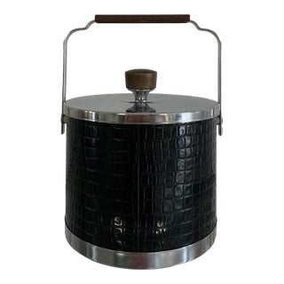 1990s Black Leather & Chrome Ice Bucket For Sale