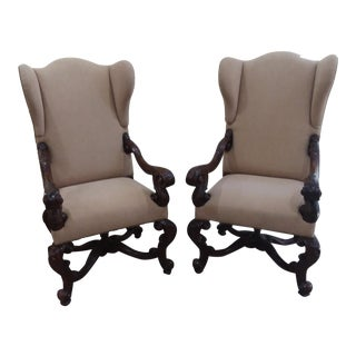 Theodore Alexander Wingback Chairs - A Pair For Sale
