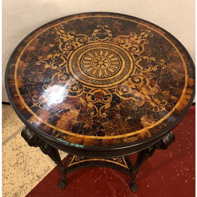19th Century Tortoise Shell Top Bronze Figural Center or End Lamp Table For Sale - Image 4 of 13