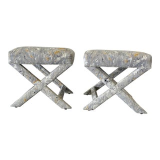 1980s X Frame Ottoman Stools - a Pair For Sale