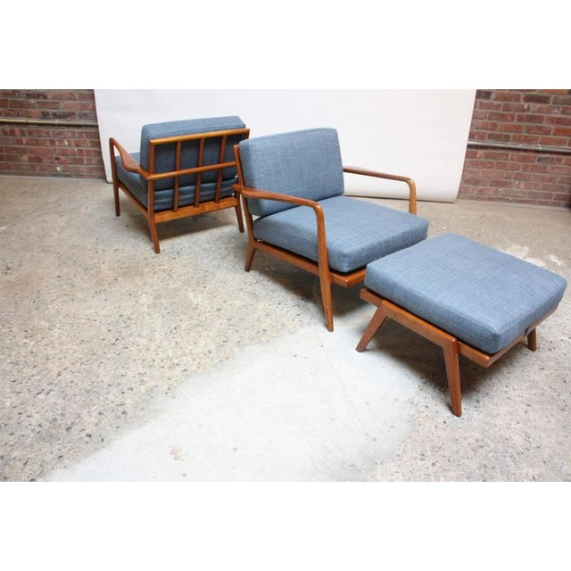 Pair of Mid-Century Walnut Armchairs and Ottoman by Mel Smilow - Image 11 of 11