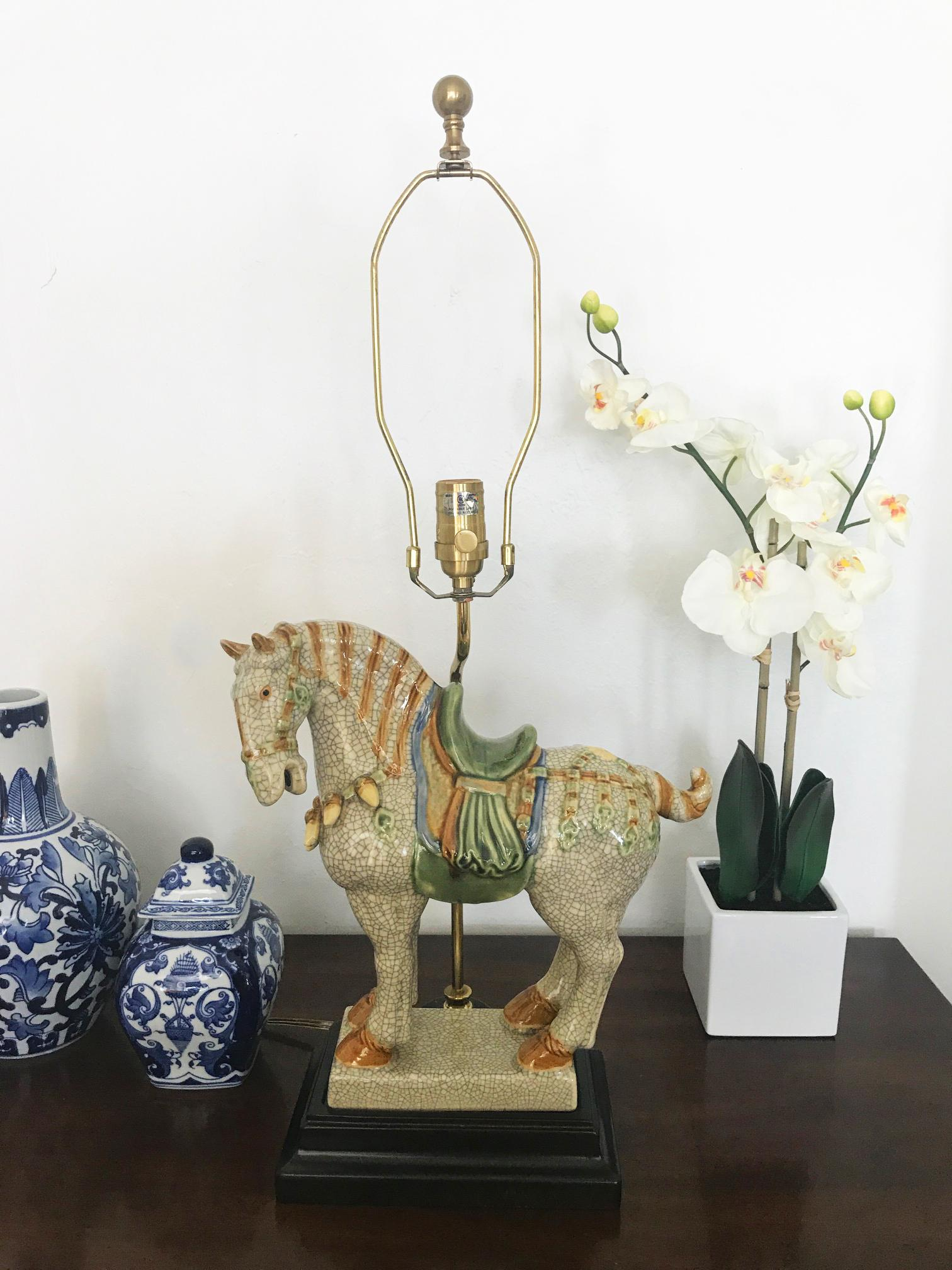 Chinoiserie Asian Style Ceramic War Horse Table Lamp   Image 2 Of 6
