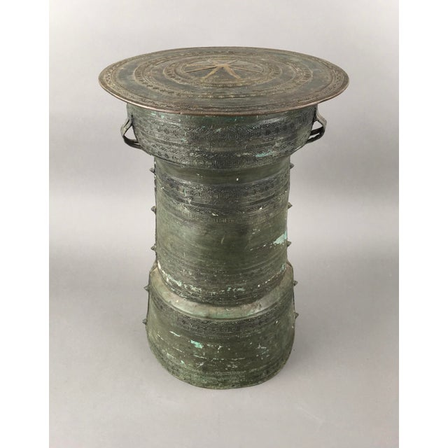 Antique Burmese Thai Bronze Frog Rain Drum Side Table For Sale In Atlanta - Image 6 of 6