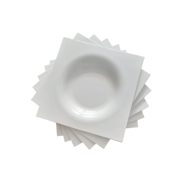 Ligne Roset Jean-Marc Gady White Ceramic Moon Plates- Set of 6 For Sale In Washington DC - Image 6 of 6
