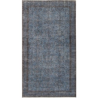 Late 20th Century Distressed Blue Turkish Rug - 4′6″ × 8′1″ For Sale