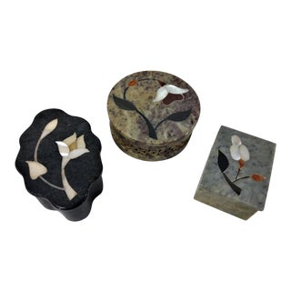 Various Shaped Stone With Inlaid Floral Lids Boxes - Set of 2 For Sale