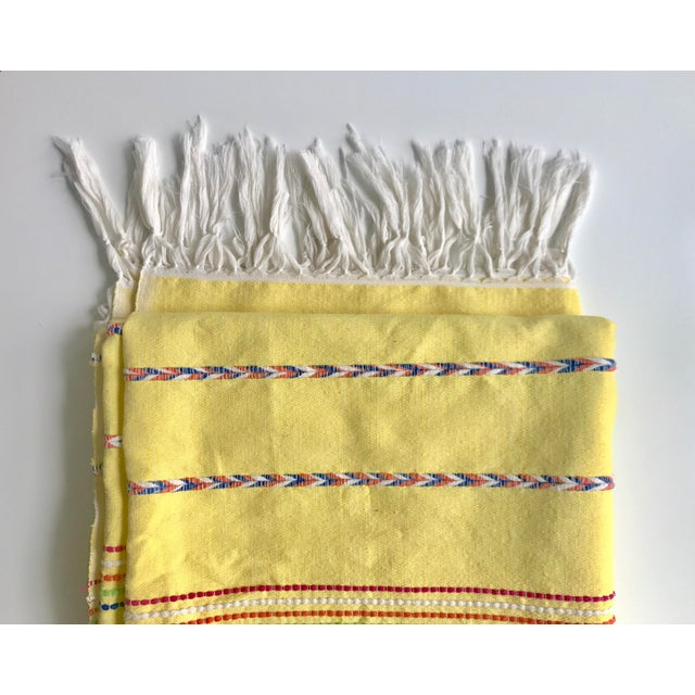 Cotton Yellow Throw Blanket With Fringe For Sale - Image 7 of 8