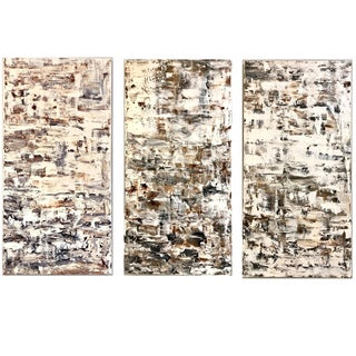 "Leila Pinto, ""Triptych Taupe Abstract"" Acrylic On Canvas For Sale"