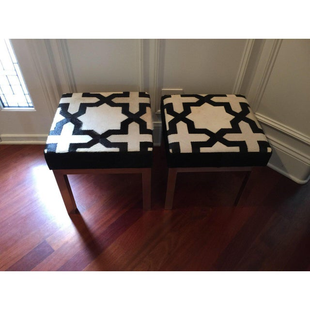 Modern Geometric Print Cowhide Ottomans- a Pair For Sale - Image 4 of 7
