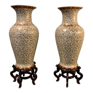 Chinoiserie Floor Vases - a Pair For Sale