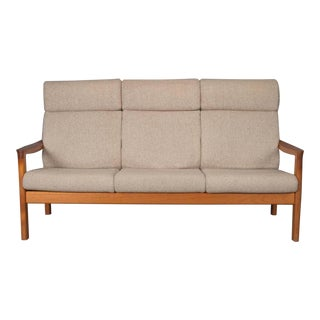 High Back Teak Sofa by Johannes Andersen for Cfc Silkeborg For Sale