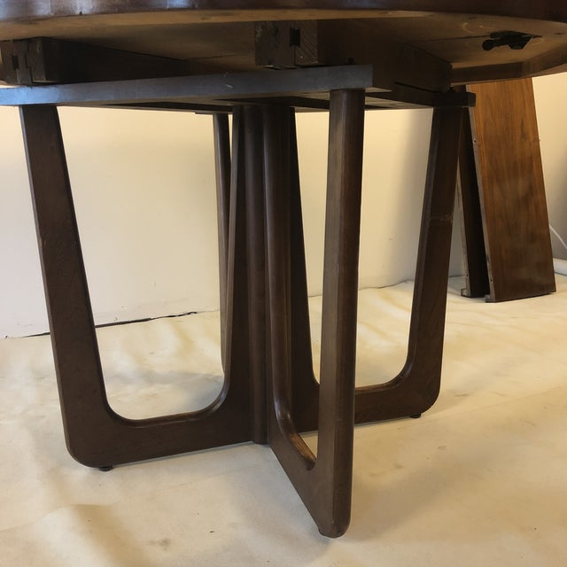 1960s Danish Modern Walnut Base Dining Table With 2 Leaves For Sale - Image 10 of 13