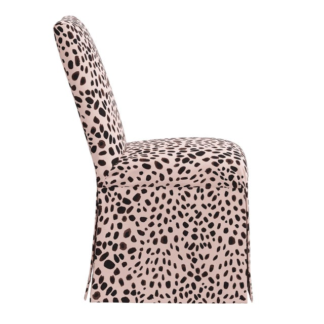 Traditional Slipcover Dining Chair in Washed Cheetah Pink Black For Sale - Image 3 of 8
