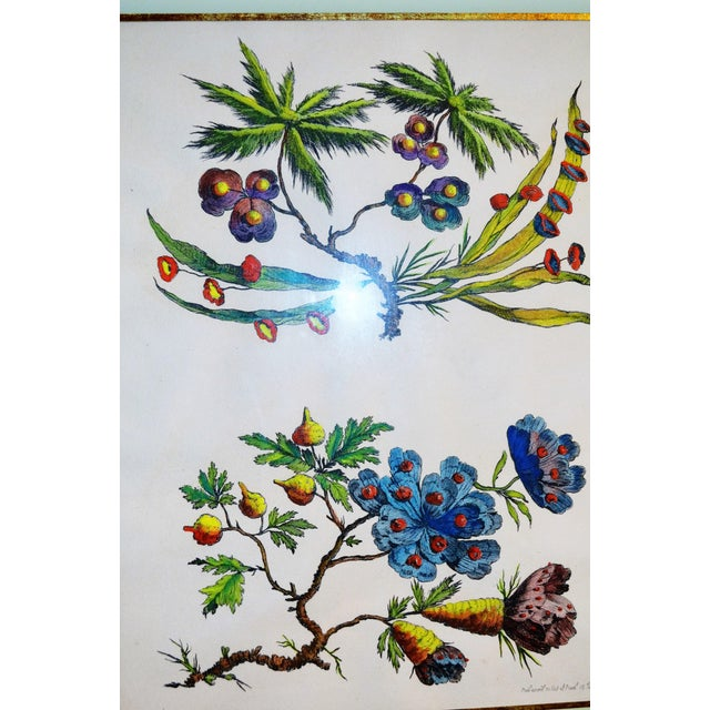 French Chinoiserie Hand Colored Floral Prints - Image 6 of 11