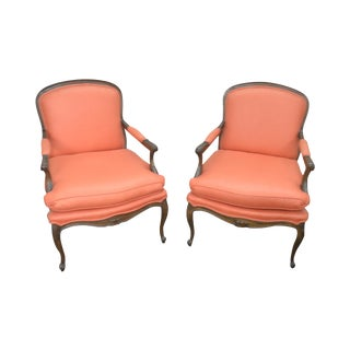 French Louis XV Style Custom Quality Pair of Fauteuils Arm Chairs