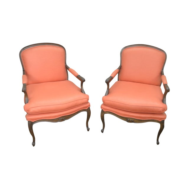 French Louis XV Style Custom Quality Pair of Fauteuils Arm Chairs For Sale