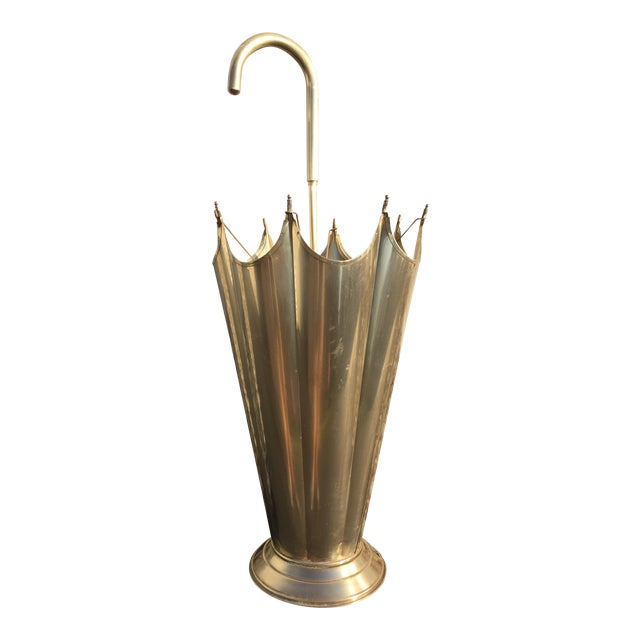 Mid-Century Brass Umbrella Shaped Stand - Image 1 of 8