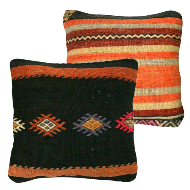 Rug & Relic Black & Orange Kilim Pillows - A Pair For Sale