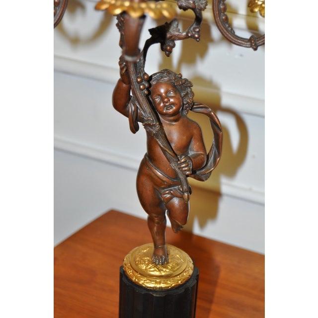 Italian 19th Century Bronze Putti Candelabra For Sale - Image 3 of 7