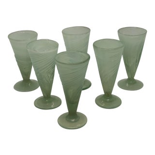 Vintage 1900's Opaque Green Hand Blown Cordial Bar Glasses - Set of 6 For Sale
