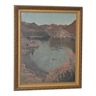 High Desert Fishing Vintage Oil Painting by Loosen c.1965