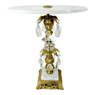 Vintage Hollywood Regency Style Gold & Italian White Marble Side Table For Sale