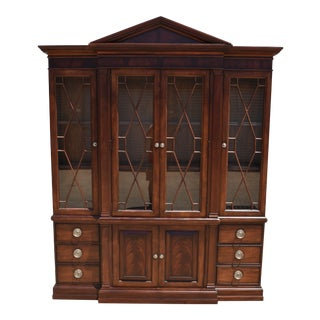 Ethan Allen Newport Mahogany Breakfront China Cabinet For Sale