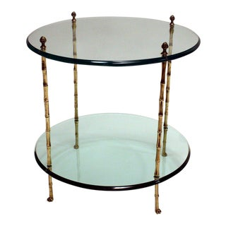Hollywood Regency Jansen Faux Bamboo Side Table For Sale