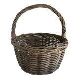 Image of Rustic Gray Washed Wood Basket For Sale