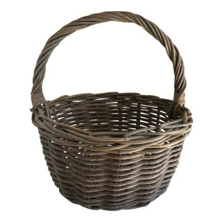 Rustic Gray Washed Wood Basket